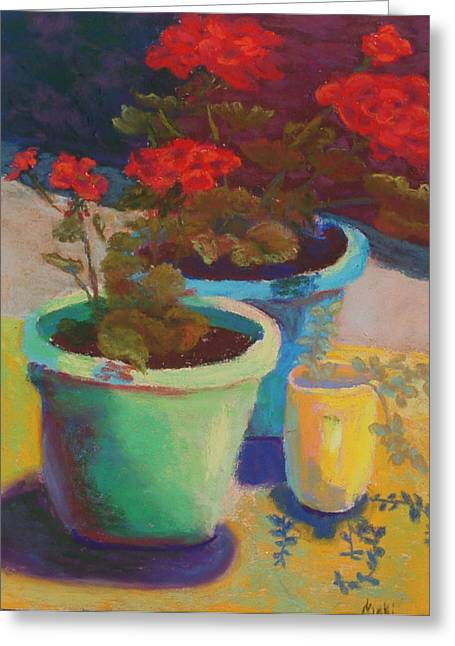 Red Geraniums Pastels Greeting Cards - Sunny Geraniums Greeting Card by Nicki Shishakly