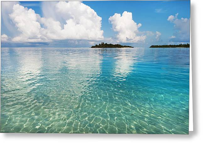 Tropical Oceans Greeting Cards - Sunny Invitation For  YOU. Maldives Greeting Card by Jenny Rainbow