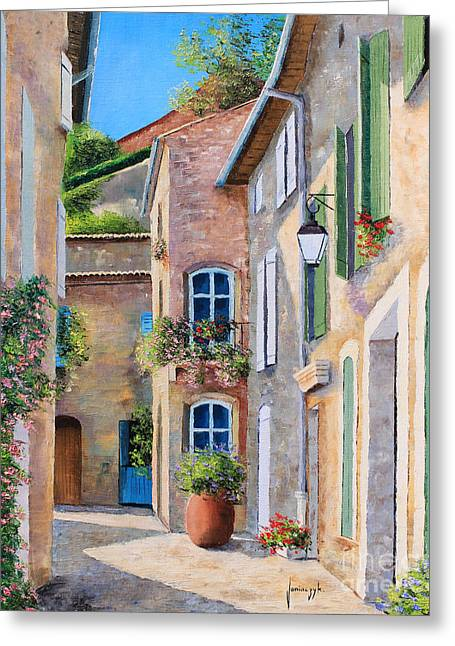 Doorway Digital Greeting Cards - Sunny Lane Greeting Card by Jean-Marc Janiaczyk