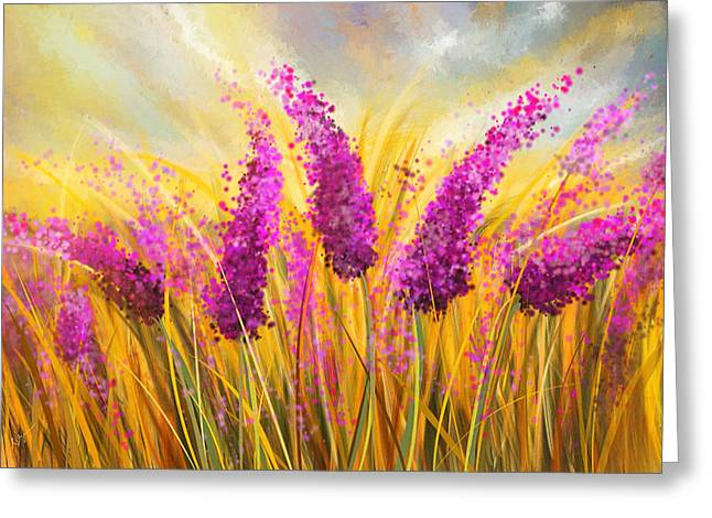 Lavender Fields Greeting Cards - Sunny Lavender Field - Impressionist Greeting Card by Lourry Legarde