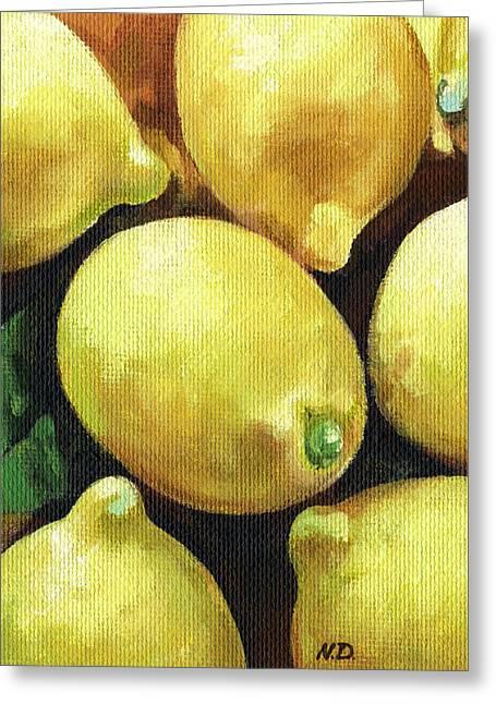 Lemon Art Greeting Cards - Sunny Lemons Greeting Card by Natasha Denger