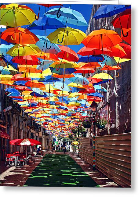 Umbrellas Pyrography Greeting Cards - Sunny Mood Greeting Card by Veselin Malinov