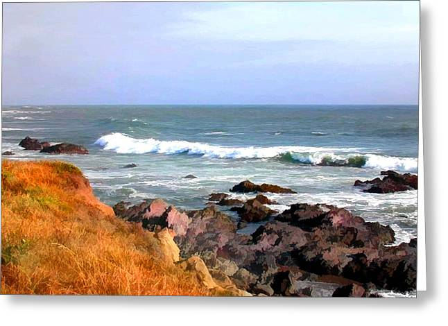 Cambria Digital Greeting Cards - Sunny Ocean Shoreline Greeting Card by Elaine Plesser