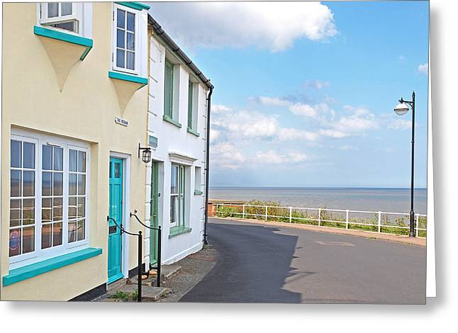 Ocean Front Landscape Greeting Cards - Sunny Outlook - Southwold Seafront Greeting Card by Gill Billington