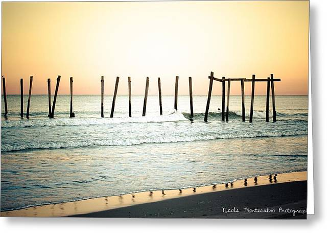 Surf City Greeting Cards - Sunny Pier Greeting Card by Nicole Montecalvo