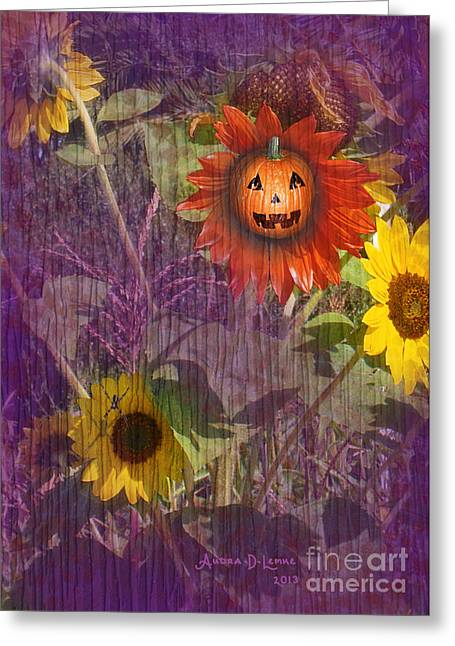 Lemke Digital Art Greeting Cards - Sunny Pumpkin Greeting Card by Audra D Lemke
