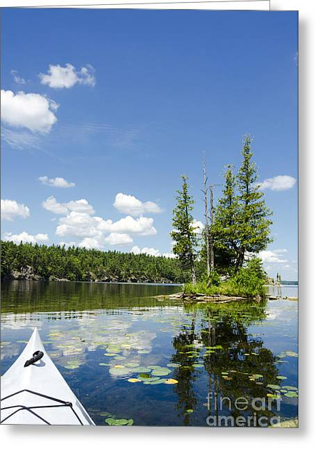 Canoe Photographs Greeting Cards - Sunny Scenic on a Northern Lake Greeting Card by Gord Horne