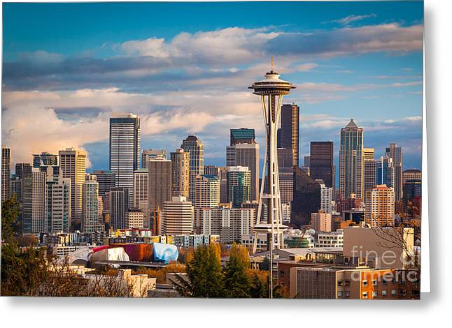 Washington Beauty Greeting Cards - Sunny Seattle Greeting Card by Inge Johnsson