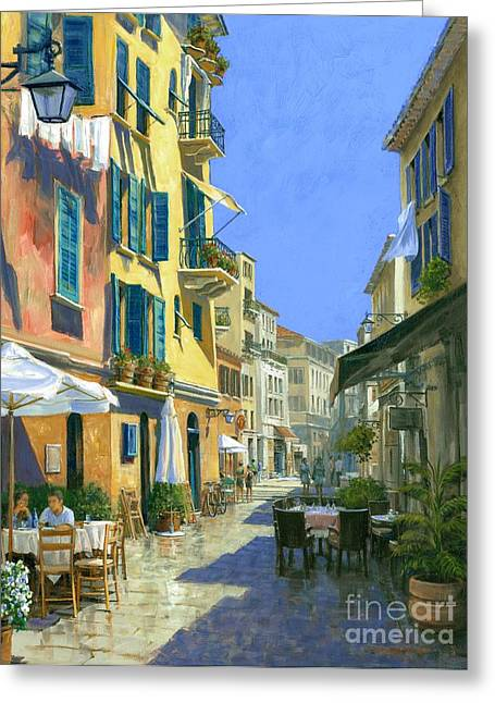Michael Swanson Greeting Cards - Sunny Side of the Street 30 x 40 - SOLD Greeting Card by Michael Swanson