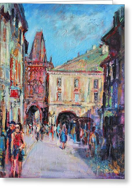 Prague Paintings Greeting Cards - Sunny Side  Prague Greeting Card by Sylvia Paul