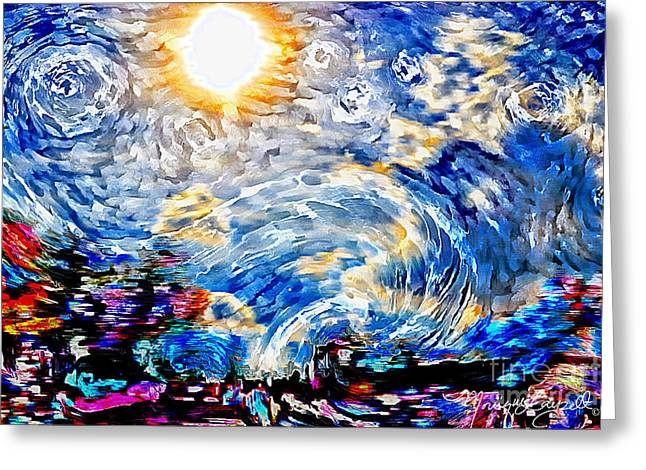Van Gogh Style Greeting Cards - Sunny Sky Greeting Card by Monique Layzell