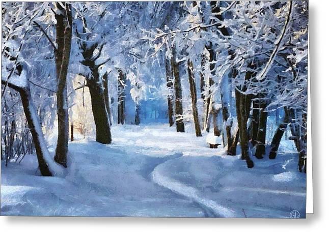 Sunny Snowy Day Greeting Card by Gun Legler