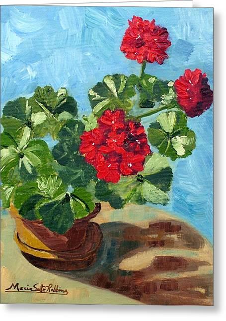 Red Geraniums Greeting Cards - Sunny Spanish Geranium Greeting Card by Maria Soto Robbins