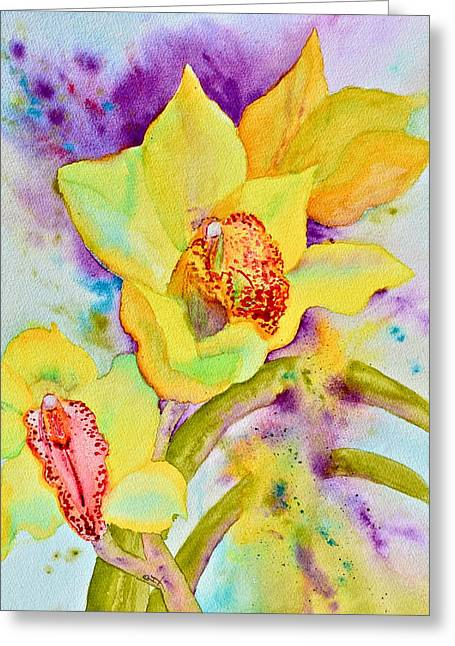 Splashy Paintings Greeting Cards - Sunny Splash of Orchids Greeting Card by Beverley Harper Tinsley