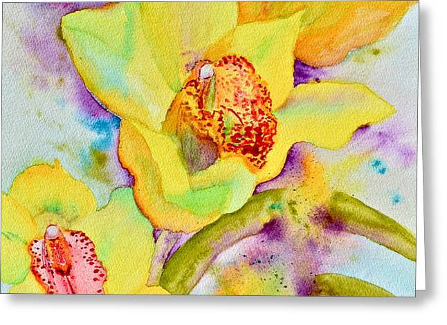 Sunny Splash of Orchids Greeting Card by Beverley Harper Tinsley