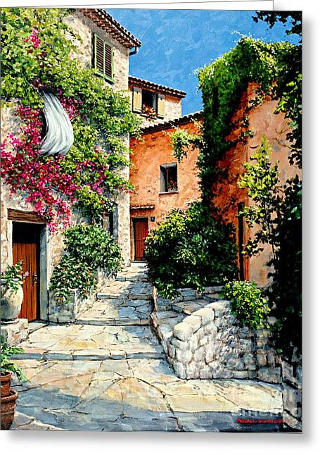 Antibes Greeting Cards - Sunny Walkway Greeting Card by Michael Swanson