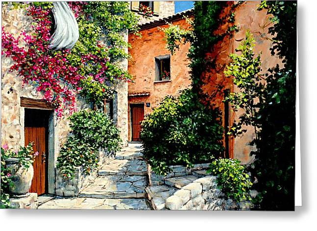 Sunny Walkway Greeting Card by Michael Swanson