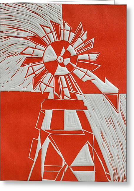 Linocut Greeting Cards - Sunny Windmill Greeting Card by Verana Stark