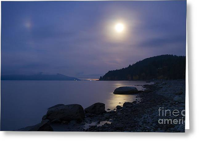 Lake Pend Oreille Greeting Cards - Sunnyside Moon Greeting Card by Idaho Scenic Images Linda Lantzy