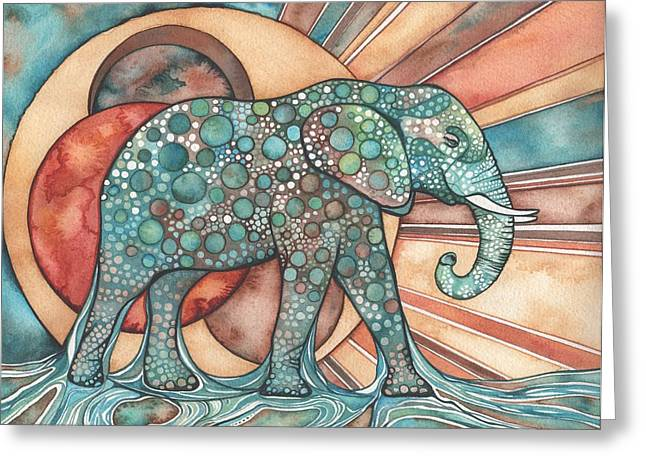Blue Mushrooms Greeting Cards - Sunphant Sun Elephant Greeting Card by Tamara Phillips