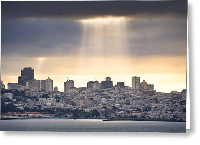 San Francisco Greeting Cards - Sunrays on San Francisco Greeting Card by Gregory Ballos