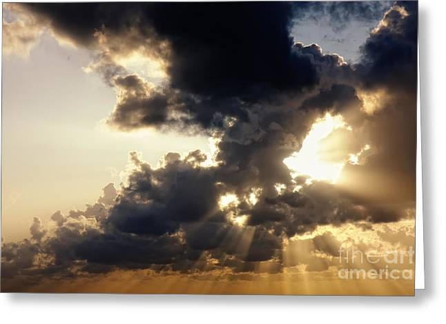 Abstract Nature Greeting Cards - Sunrays through clouds Greeting Card by Jan Brons