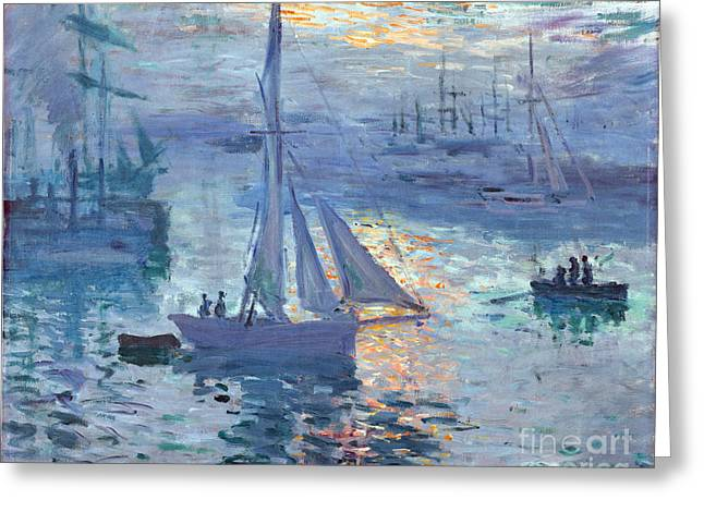 Vintage Painter Greeting Cards - Sunrise - Marine Greeting Card by Claude Monet