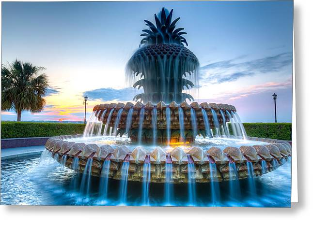 Charleston Greeting Cards - Sunrise @ Pineapple Fountain Greeting Card by Walt  Baker
