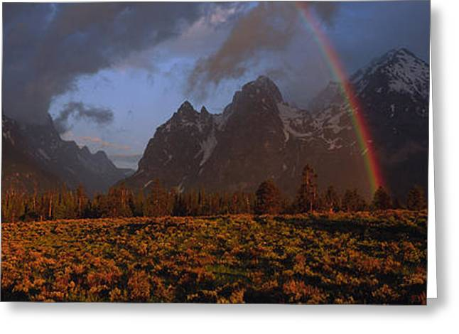 Snow Capped Greeting Cards - Sunrise & Rainbow Grand Teton National Greeting Card by Panoramic Images