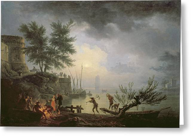 Campfire Greeting Cards - Sunrise, A Coastal Scene With Figures Greeting Card by Claude Joseph Vernet