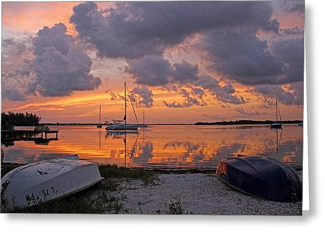 Sailboat Art Greeting Cards - Sunrise - A Moody Morning Greeting Card by HH Photography of Florida