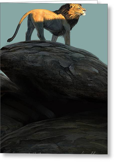 Lions Digital Art Greeting Cards - Sunrise Greeting Card by Aaron Blaise