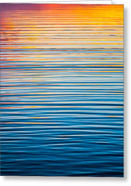 Sunset Abstract Photographs Greeting Cards - Sunrise Abstract On Calm Waters Greeting Card by Parker Cunningham