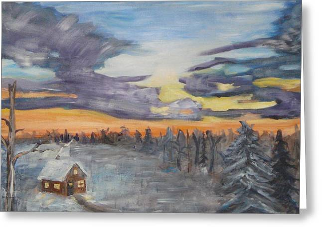 Oil On Canvas Board Greeting Cards - Sunrise and Cabin Greeting Card by John  Bichler