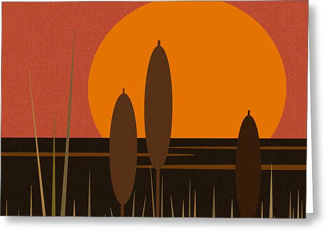 Minimalist Landscape Greeting Cards - Sunrise and Cattails Greeting Card by Val Arie