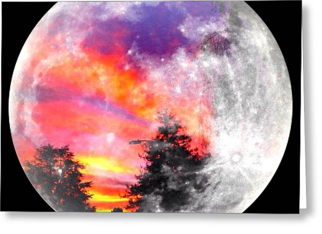 Sunrise And Full Moon Greeting Card by Anne Thurston