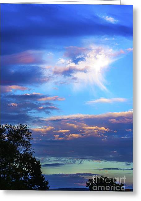 Colorful Cloud Formations Greeting Cards - Sunrise Angel Cloud Greeting Card by Thomas R Fletcher