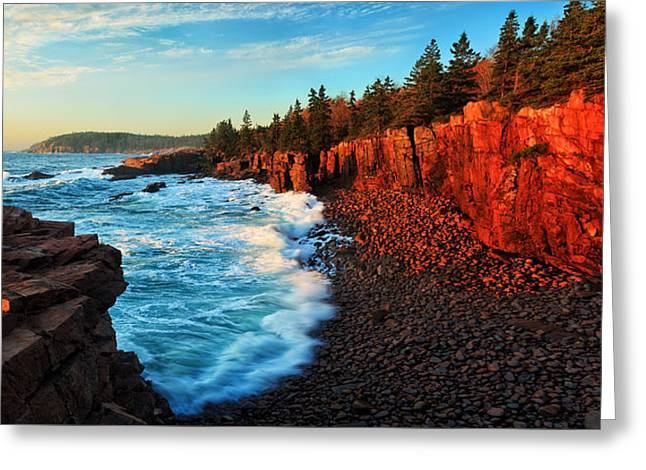 White Photographs Greeting Cards - Sunrise at Acadia Panorama Greeting Card by Bill Caldwell -        ABeautifulSky Photography