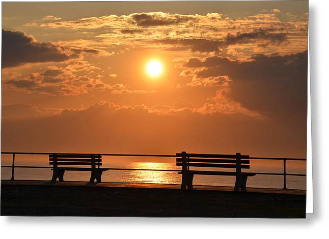 New At Digital Greeting Cards - Sunrise at Asbury Park Greeting Card by Bill Cannon