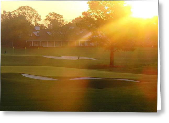 Golf Course Senery Greeting Cards - Sunrise at Augusta National Greeting Card by Bo  Watson