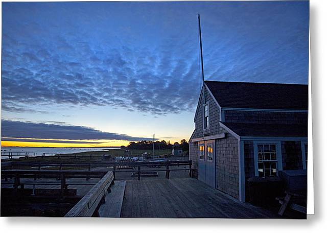Clubhouse Greeting Cards - Sunrise at Barnstable Yacht Club Greeting Card by Charles Harden