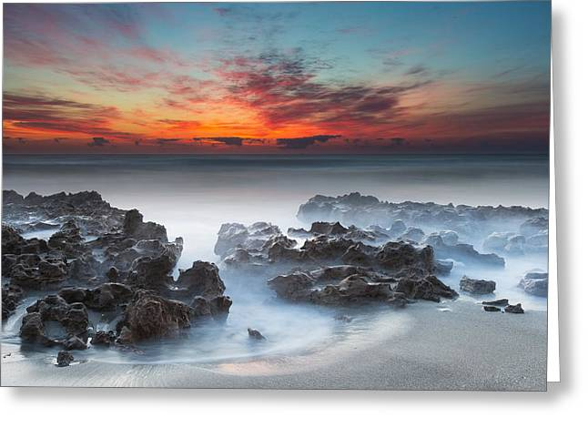 Pensive Greeting Cards - Sunrise at Blowing Rocks Preserve Greeting Card by Andres Leon