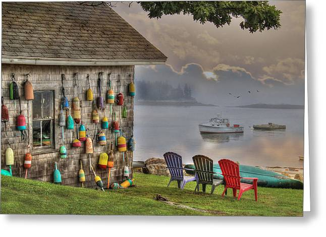 Maine Shore Greeting Cards - Sunrise at Boothbay Harbor Greeting Card by Lori Deiter