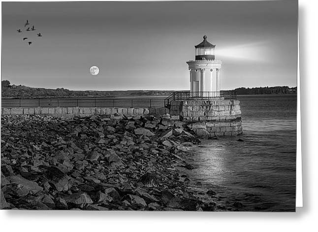 Moon Set Greeting Cards - Sunrise at Bug Light BW Greeting Card by Susan Candelario