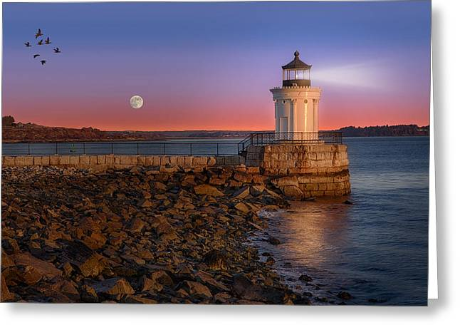 Maritime Greeting Cards - Sunrise at Bug Light Greeting Card by Susan Candelario