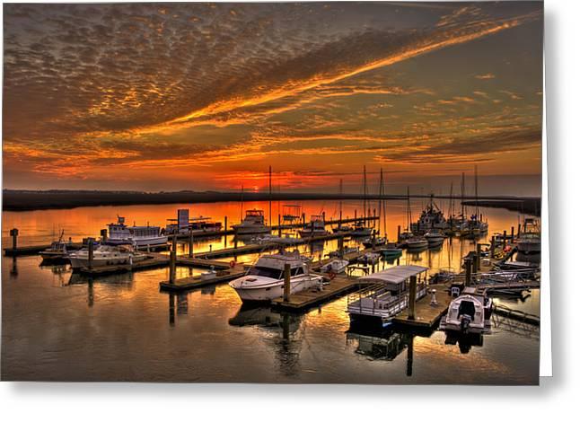 Pier Pilings Greeting Cards - Sunrise at Bull River Marina Tybee Island Greeting Card by Reid Callaway