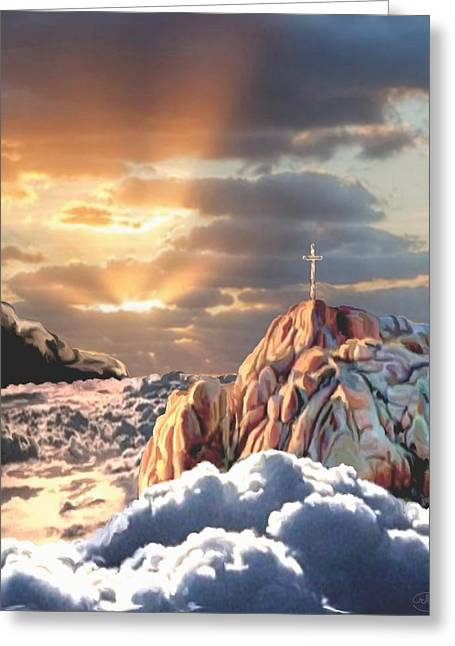 Cross On The Grave Greeting Cards - Sunrise at Calvary Greeting Card by Ronald Chambers