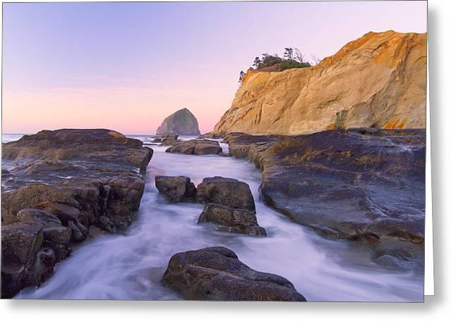 Surf City Usa Greeting Cards - Sunrise at Cape Kiwanda Greeting Card by Patricia  Davidson