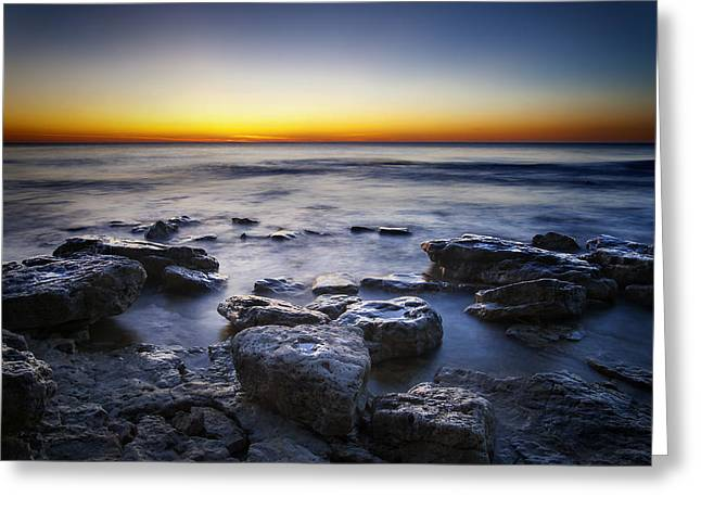 Escarpment Greeting Cards - Sunrise at Cave Point Greeting Card by Scott Norris