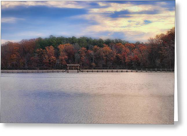 Autumn Scenes Greeting Cards - Sunrise at Chickasaw - Autumn Lake Scene Greeting Card by Jai Johnson